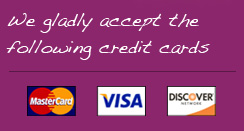 We Gladly accept the following Credit Card